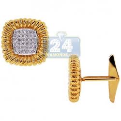 14K Yellow Gold 0.83 ct Diamond Square Mens Vintage Cuff Links