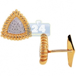 14K Yellow Gold 0.57 ct Diamond Vintage Triangle Mens Cuff Links