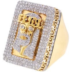 Mens Diamond Jesus Christ Ring 14K Yellow Gold 4.14 ct