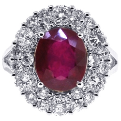 Womens Diamond Ruby Gemstone Ring 18K White Gold 7.22 ct