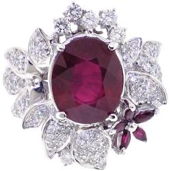 Womens Diamond Ruby Flower Ring 18K White Gold 8.55 ct
