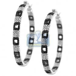 14K White Gold 2.80 ct Diamond Zebra Hoops Womens Earrings