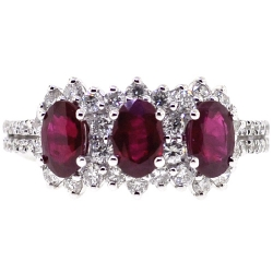 Womens Diamond Ruby 3 Stone Halo Ring 18K White Gold 2.58 ct