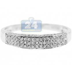 14K White Gold 0.30 ct 5 Row Diamond Womens Band Ring