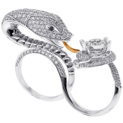 Womens Diamond Snake Double Ring 18K White Gold 4.31 ct