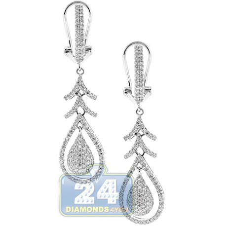 14K White Gold 0.99 ct Diamond Womens Omega Clasp Dangle Earrings