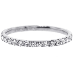 Womens Diamond Wedding Band 18K White Gold 0.35 ct 1.8 mm