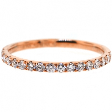 Womens Diamond Wedding Band 18K Rose Gold 0.35 ct 1.8 mm
