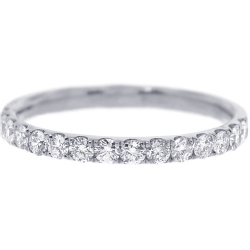 Womens Diamond Wedding Ring 18K White Gold 0.46 ct 2 mm