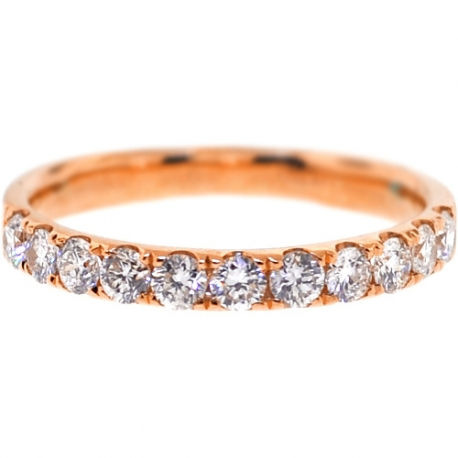 Womens Diamond Wedding Band 18K Rose Gold 0.58 ct 2.3 mm