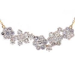 Womens Diamond Cluster Flower Necklace 14K Yellow Gold 4.08 ct