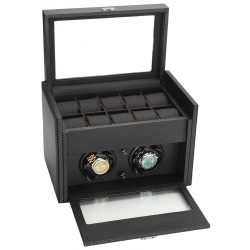 Double Watch Winder Storage 34-702 Diplomat Modena Carbon Fiber