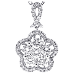 Womens Diamond Cluster Drop Necklace 14K White Gold 1.25 ct