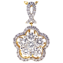 Womens Diamond Cluster Drop Necklace 14K Yellow Gold 1.26 ct