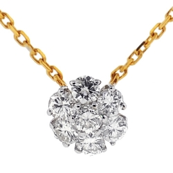 14K Yellow Gold 0.96 ct Diamond Cluster Womens Necklace 16 Inches