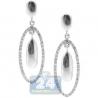 14K White Gold 0.46 ct Pave Diamond Womens Dangle Earrings