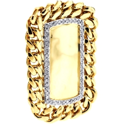 Mens Diamond Cuban Link Dog Tag Pendant 14K Yellow Gold 0.87 ct