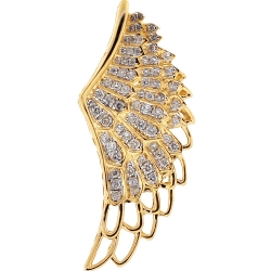 Mens Diamond Angel Wing Pendant 14K Yellow Gold 0.81 ct
