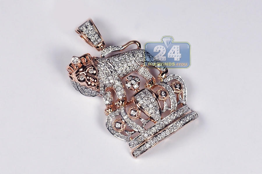 Mens Diamond Lion Crown Pendant 14k Rose Gold 1 69 Ct