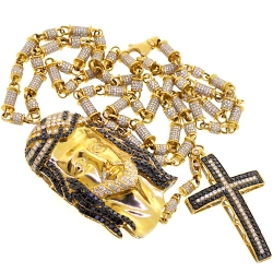 Mens Diamond Jesus Christ Rosary Necklace 14K Yellow Gold 24.63 ct