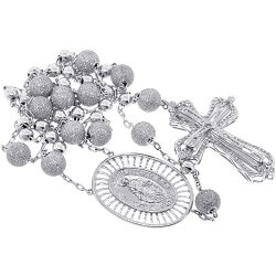 Mens Diamond Bead Cross Rosary Necklace 14K White Gold 9.31 ct