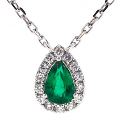 Womens Emerald Diamond Drop Necklace 14k White Gold 0 68 Ct