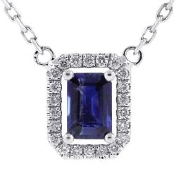 Womens Sapphire Diamond Drop Necklace 14K White Gold 0.74 ct
