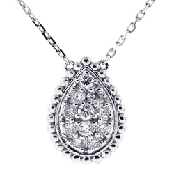 Womens Diamond Pear Drop Necklace 14K White Gold 0.71 ct