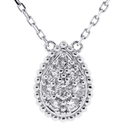 Womens Diamond Cluster Pear Shape Necklace 14K White Gold 0.37 ct