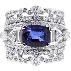 Womens Blue Sapphire Diamond Ring 14K White Gold 4.79 ct