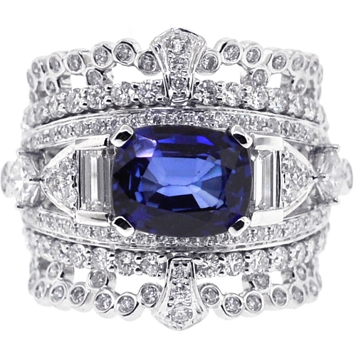 womens blue sapphire diamond vintage band ring 14k gold. Black Bedroom Furniture Sets. Home Design Ideas