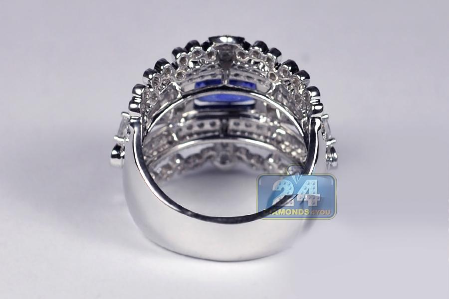 Womens Blue Sapphire Diamond Vintage Band Ring 14k Gold 4 79ct