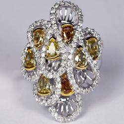 Womens Fancy Yellow Diamond Loop Ring 14K White Gold 3.04 ct