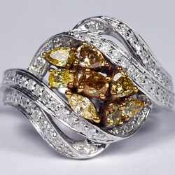 Womens Fancy Yellow Diamond Cluster Ring 14K White Gold 1.57 ct