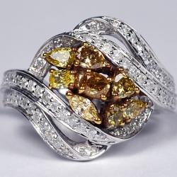 Womens Fancy Yellow Diamond Cluster Ring 14K White Gold 1.57 ct