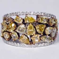 Womens Fancy Yellow Diamond Band Ring 14K White Gold 3.74 ct