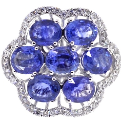 Womens Tanzanite Diamond Cluster Ring 14K White Gold 5.94 ct