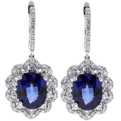 Womens Blue Sapphire Diamond Drop Earrings 14K White Gold 6.88 ct