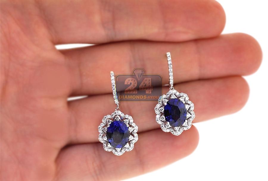 Womens Sapphire Diamond Drop Earrings 14k White Gold 6 88 Ct
