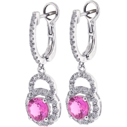 Womens Pink Sapphire Diamond Drop Earrings 18K White Gold 3.21 ct