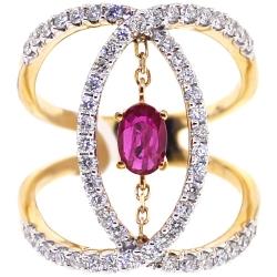 Womens Diamond Ruby Open Loop Ring 14K Yellow Gold 1.31 ct
