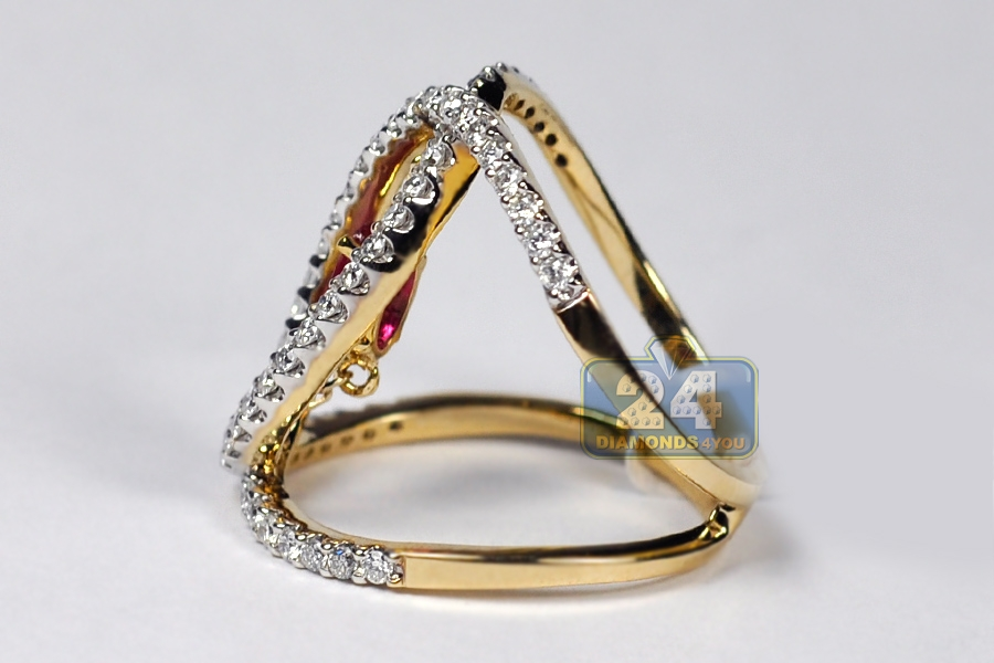 Womens Diamond Ruby Open Loop Ring 14k Yellow Gold 1 31 Ct