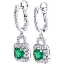 Womens Emerald Diamond Dangle Earrings 18K White Gold 2.66 ct