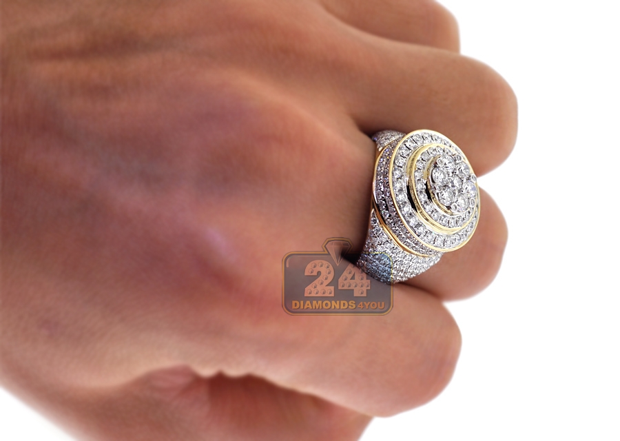 Mens Diamond Cluster Signet Ring 14K Yellow Gold 4 38 ct