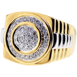 Mens Diamond Signet Step Ring 14K Yellow Gold 0.75 ct