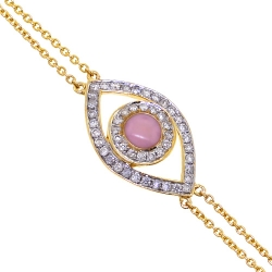 Womens Diamond Evil Eye Bracelet 14K Yellow Gold 0.15 ct 7 Inches