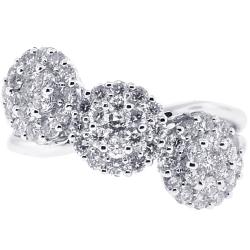 Womens Diamond Cluster 3 Stone Ring 18K White Gold 1.24 ct
