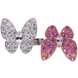 Womens Sapphire Diamond Double Butterfly Ring 18K Gold 2.00 ct