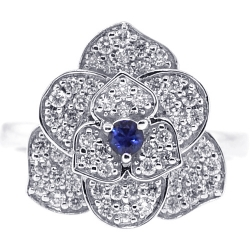 Womens Diamond Blue Sapphire Flower Ring 18K White Gold 0.72 ct