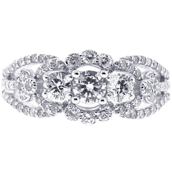 Womens Diamond 3 Stone Accent Ring 18K White Gold 1.33 ct